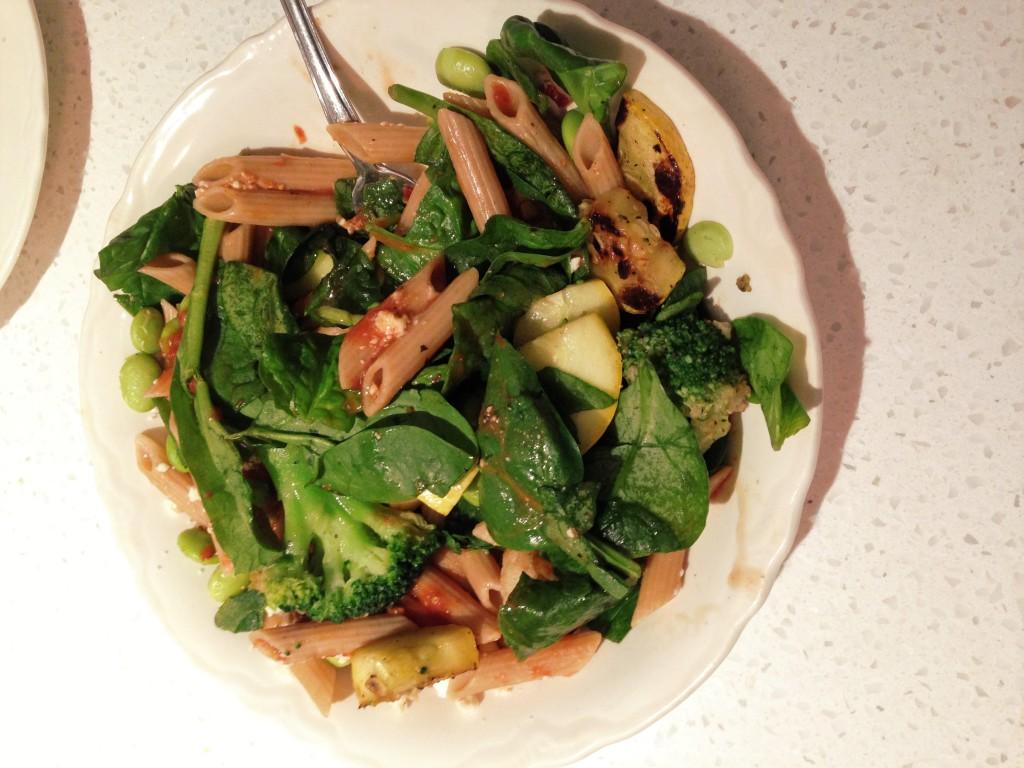 Pasta, squash, broccoli, spinach, feta (2)