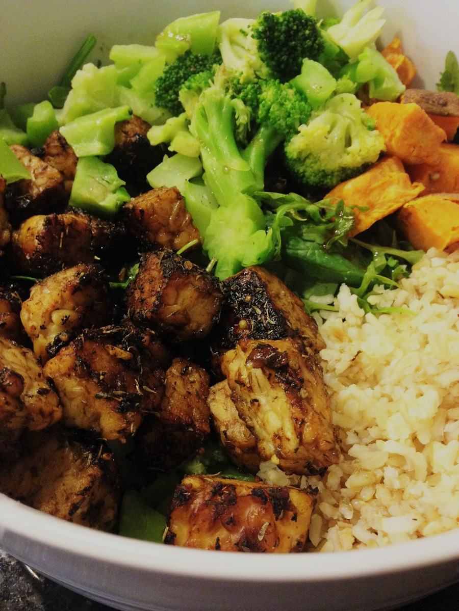tempeh, vegan, power bowl, buddha bowl