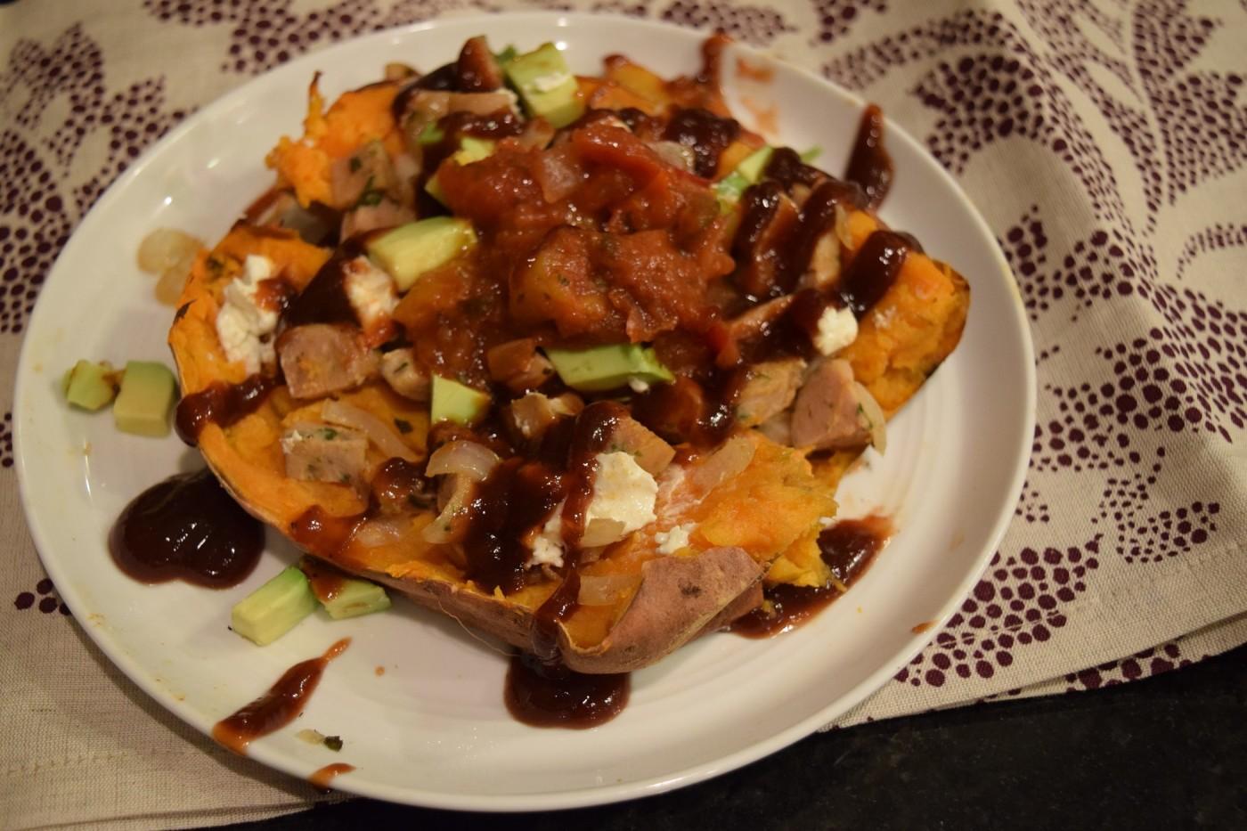 stuffed sweet potato with salsa