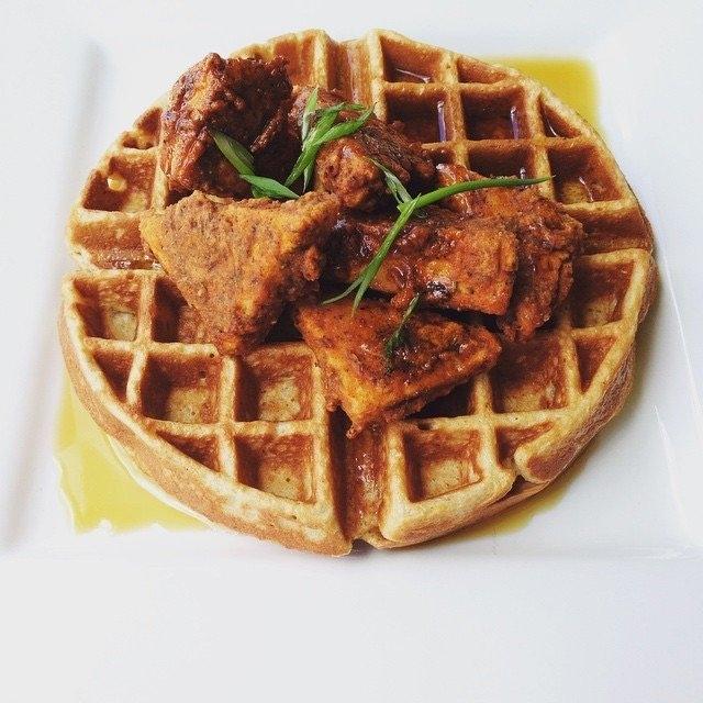 sweet potato waffle and chicken