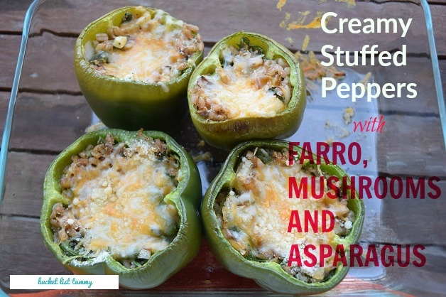 Creamy Stuffed Peppers with Farro, Mushrooms + Asparagus