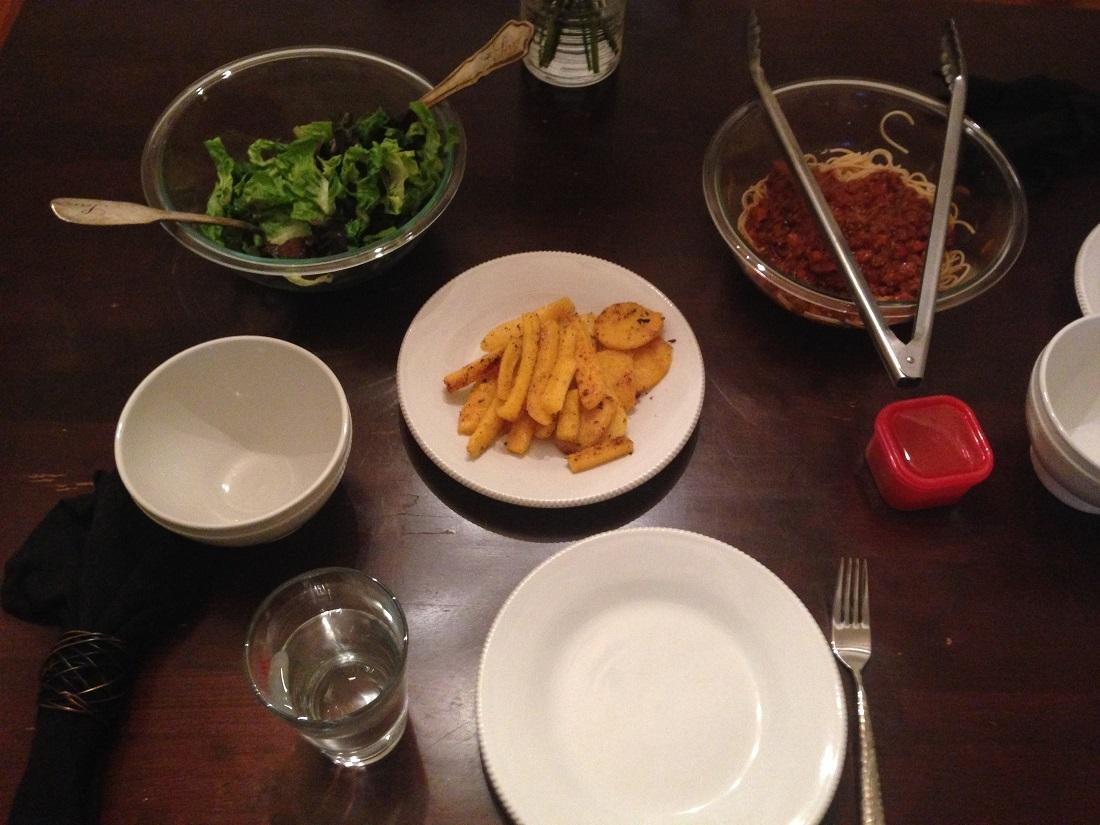 pasta sauce and polenta fries