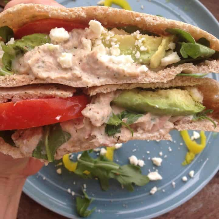 Tuna Salad on Pita bread close up