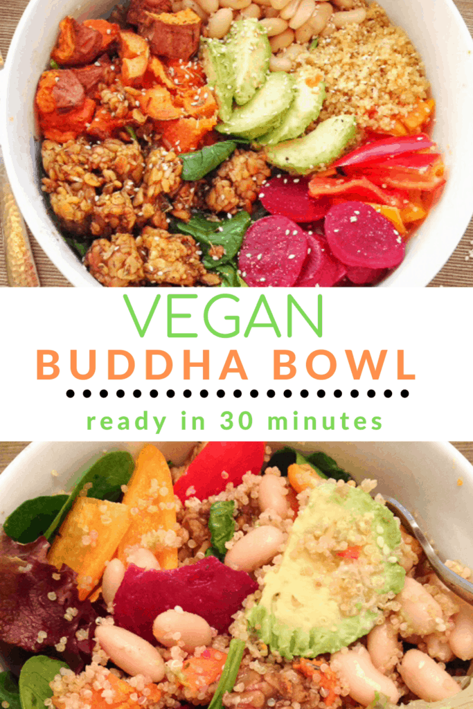 Vega Buddha Bowl in white bowl with tempeh and veggies with text overlay | Bucket List Tummy