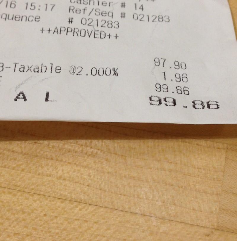 aldi receipt