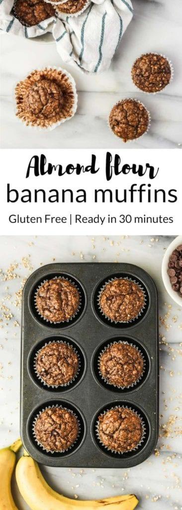 Almond Flour Banana Muffinswith no added sugar