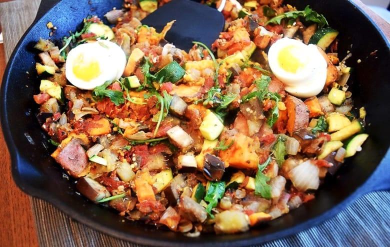 Eggplant breakfast hash with eggs