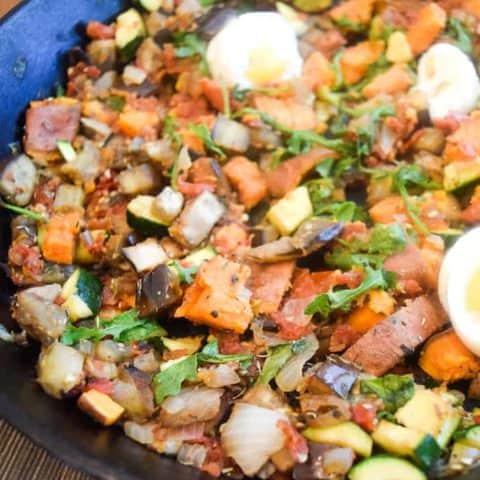 Sweet Potato Eggplant Breakfast Hash