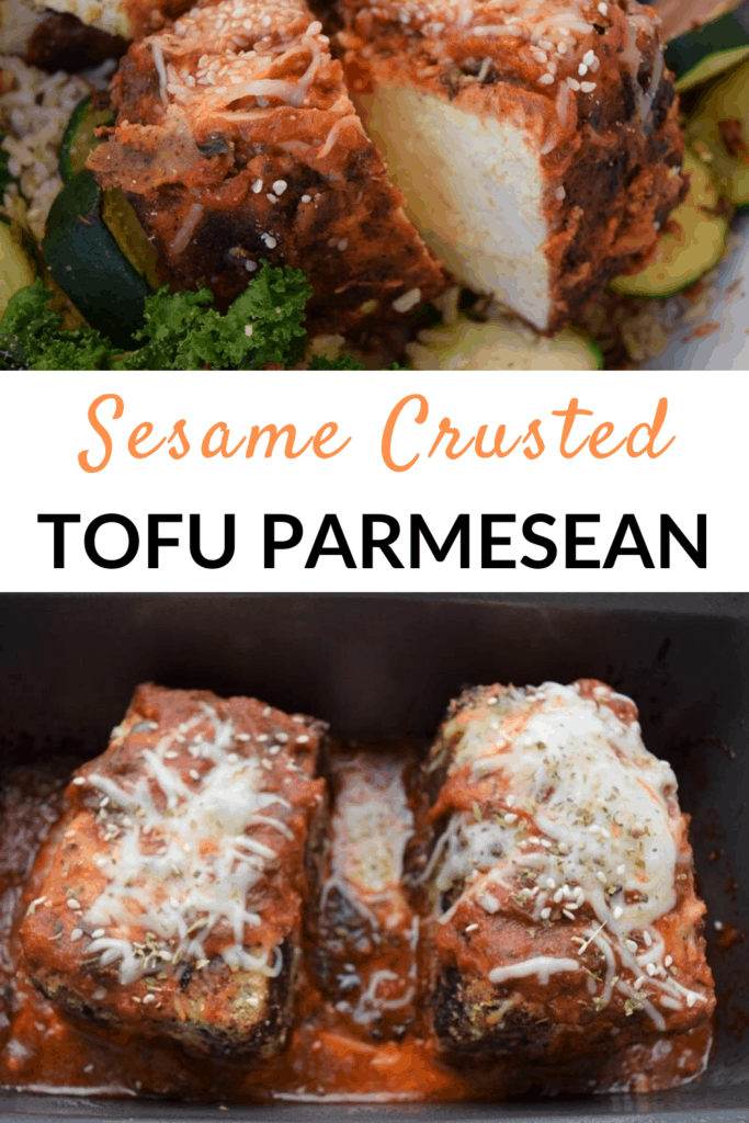 Closeup of tofu parmesean