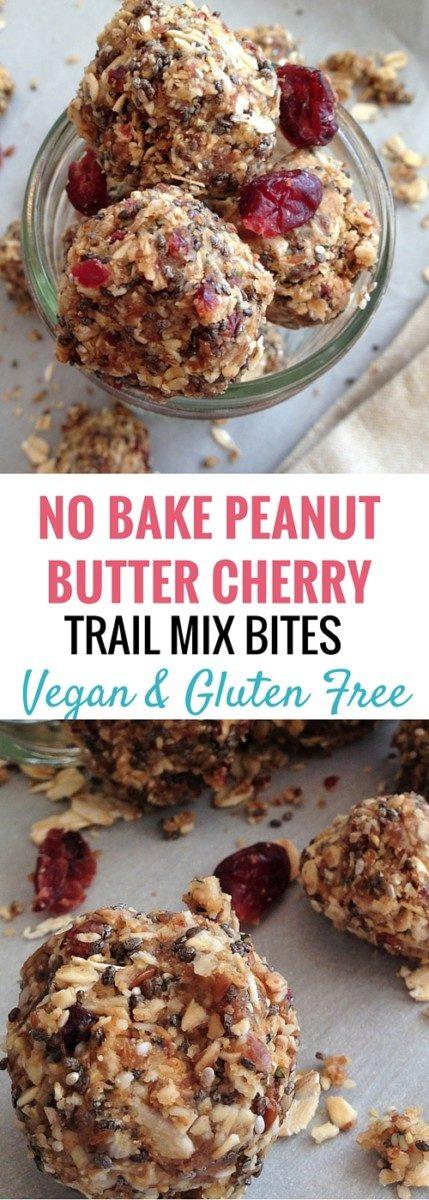 no bake peanut butter cherry trail mix bites
