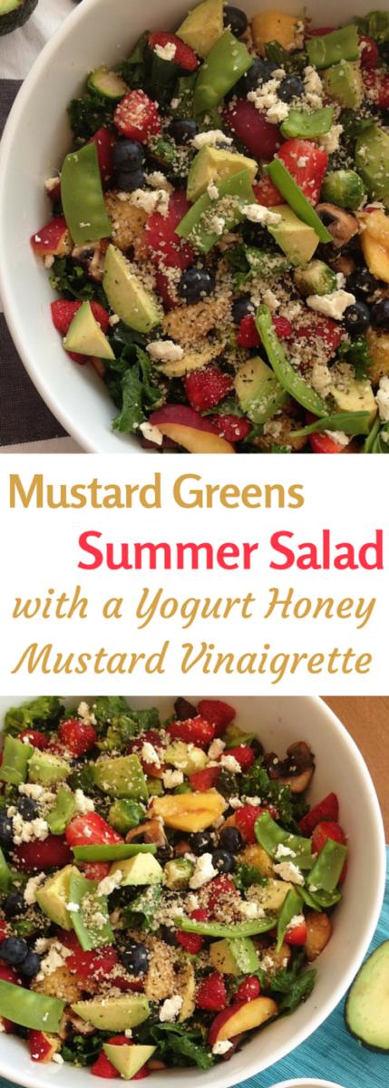 mustard greens summer salad with creamy yogurt honey mustard vinaigrette