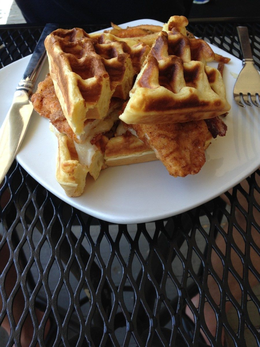 chicken and waffles, fork