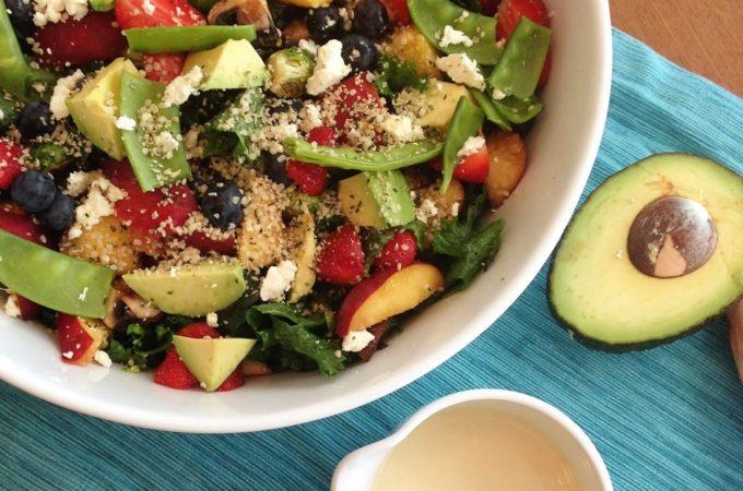 Mustard Greens Summer Salad with a Yogurt Honey Mustard Vinaigrette (Vegan, GF)