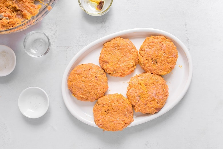 Paleo Sweet Potato Burgers on White serving platter before cooking
