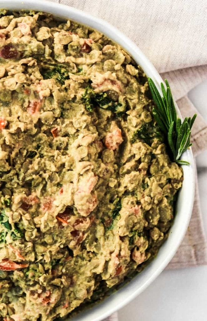 Lemon Tahini Lentil Hummus, a protein-packed vegetarian appetizer and meal option