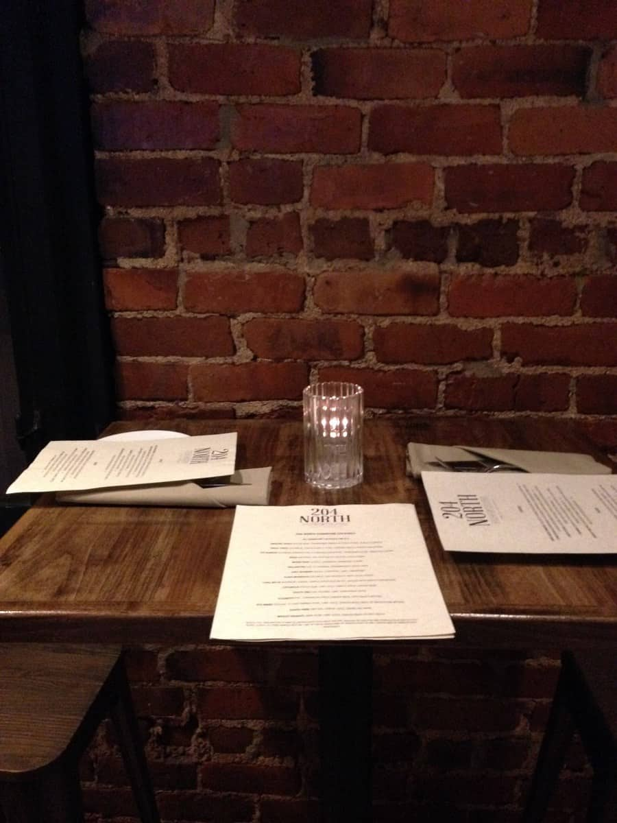 table for dinner at 204 north