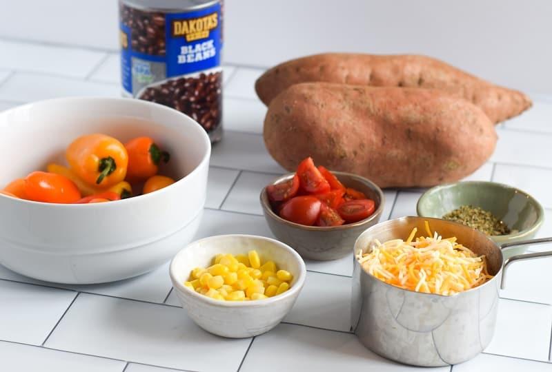 ingredients for loaded sweet potato nachos