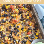 sweet potatoes baked and cut into coin shape topped with veggies, beans and cheese