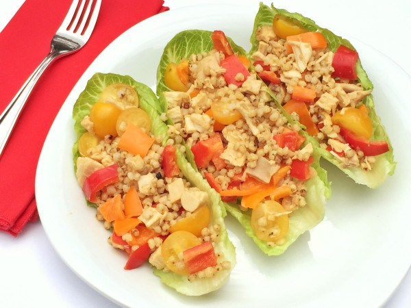 Chicken and sorghum in lettuce wraps