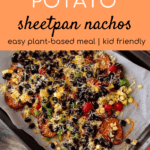 nachos with toppings on sheet pan