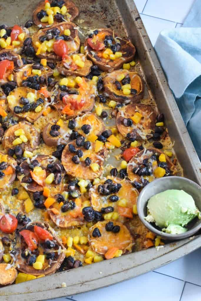 closeup of vegetarian nachos recipe | Bucket List Tummy