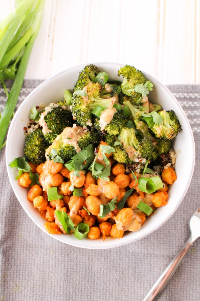 white bowl with chickpeas and broccoli