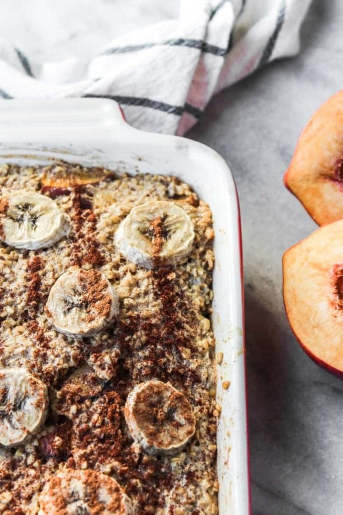 Close up of steel cut baked oatmeal with cinnamon | Bucket List Tummy