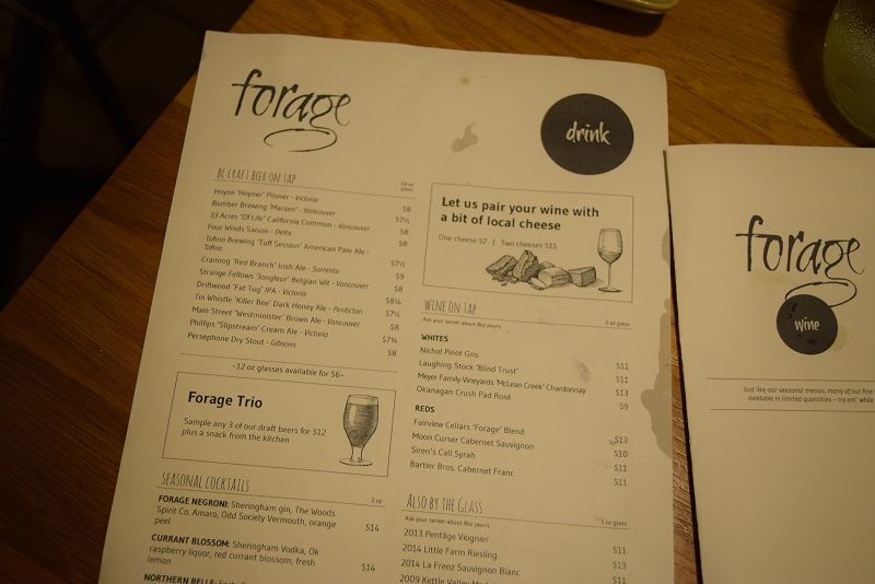 Forage wine menu