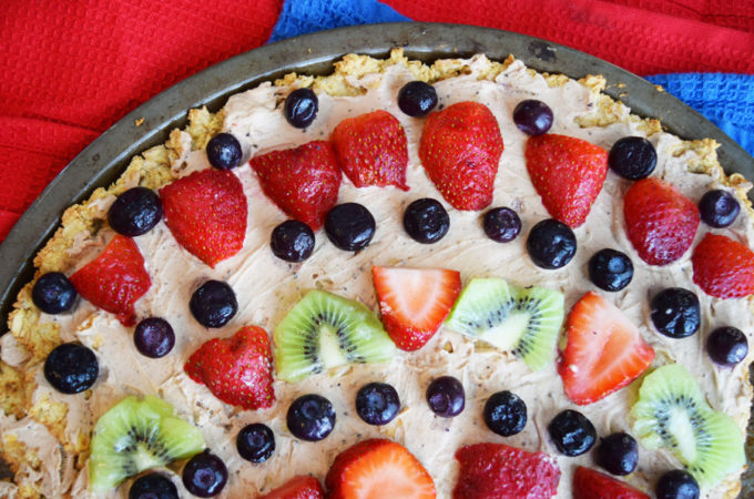 Fruity Dessert Pizza with Peanut Butter Chocolate Glaze