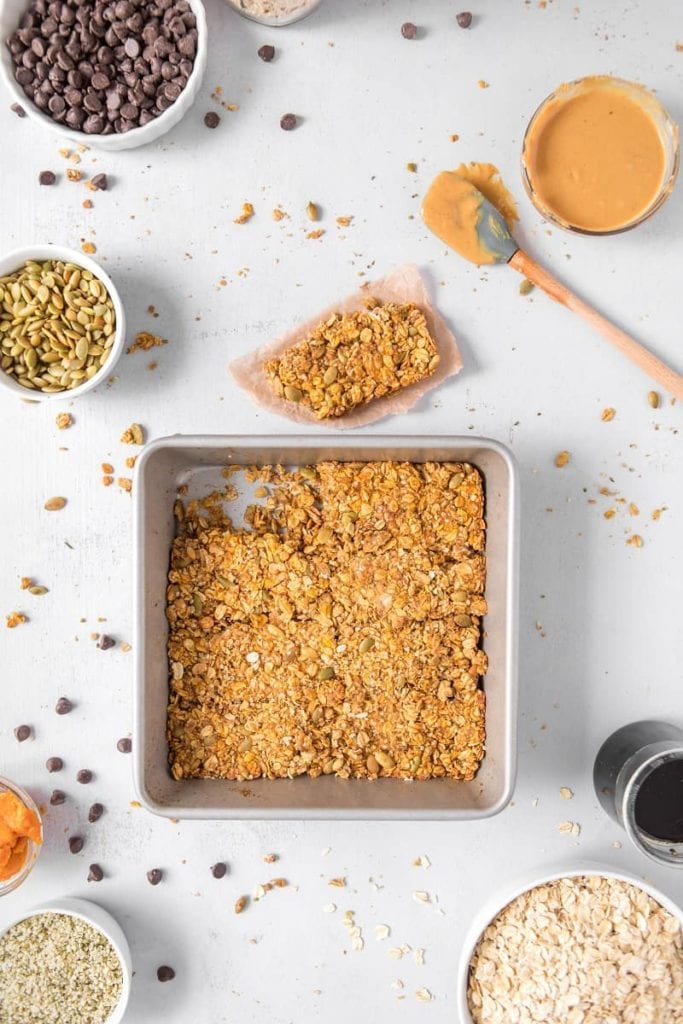 Pan of Homemade Hemp Protein Bars with oats and pumpkin