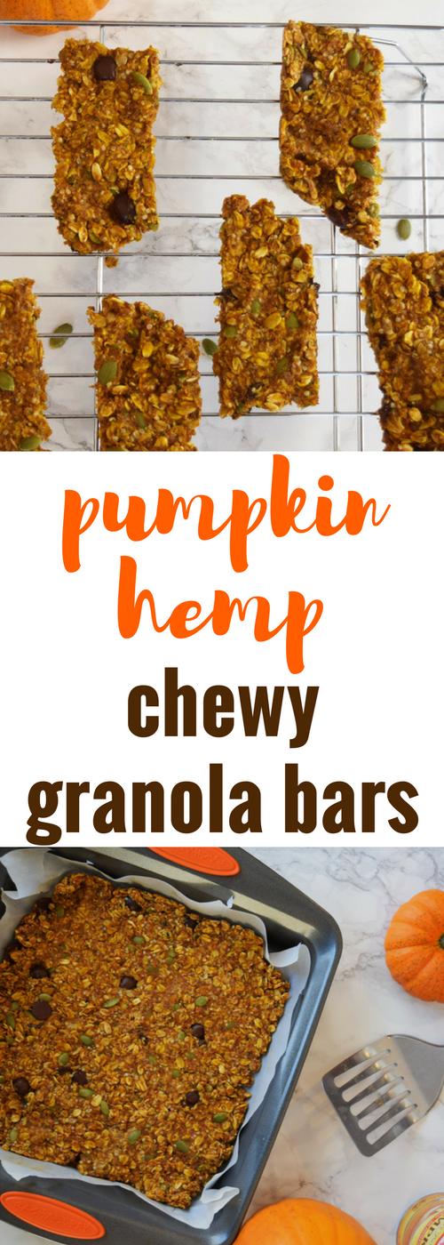 Chewy Pumpkin Hemp Granola Bars, pumpkin granola