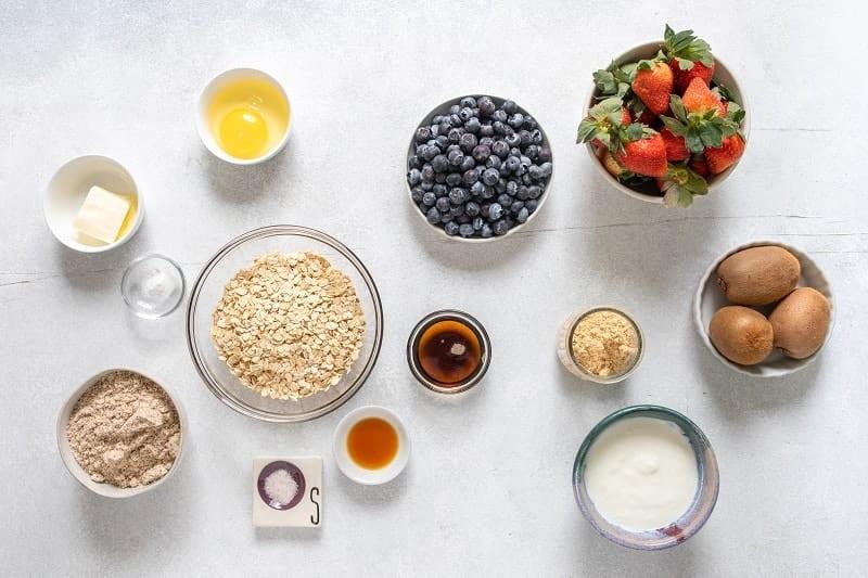 Ingredients for a healthy fruit pizza crust | bucketlisttummy.com