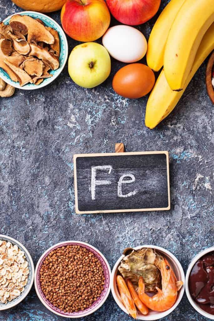 Iron rich foods for vegetarians on chalk backboard