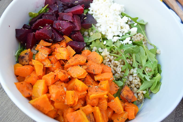 barley sweet potatoes and beets in a bowl
