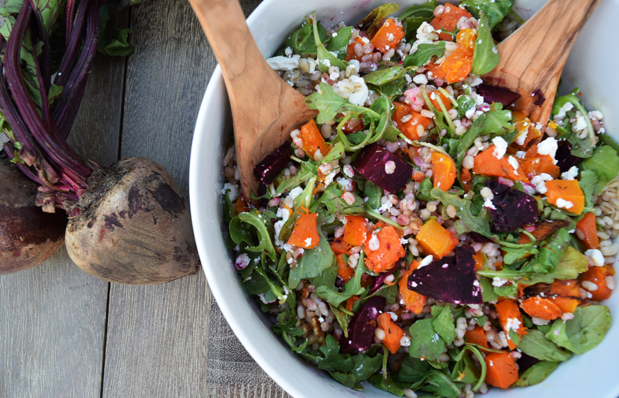 This healthy grain salad is the perfect combination of fall flavors, boasting bright colors and bold flavors from the combination of barley, roasted butternutsquash and beets with creamy goat cheese crumbles.