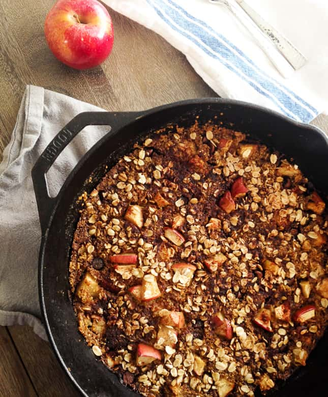 Gluten Free Apple Crisp in a skillet on table | Bucket List Tummy