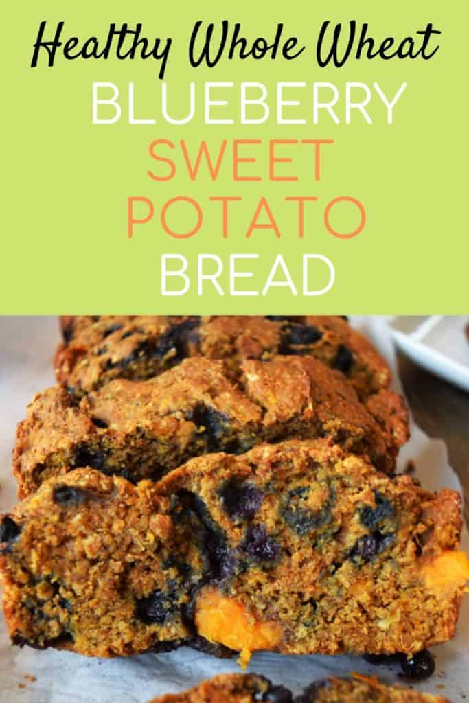 Wild Blueberry Sweet Potato Bread with Text Overlay