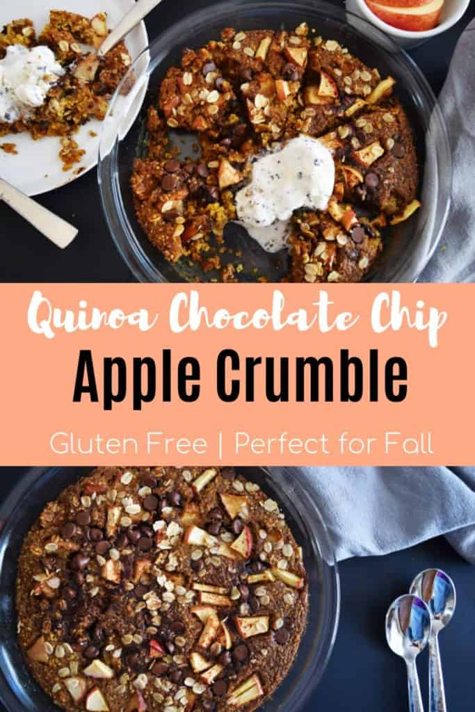 Gluten Free Apple Crisp in skillet with text overlay | Bucket List Tummy
