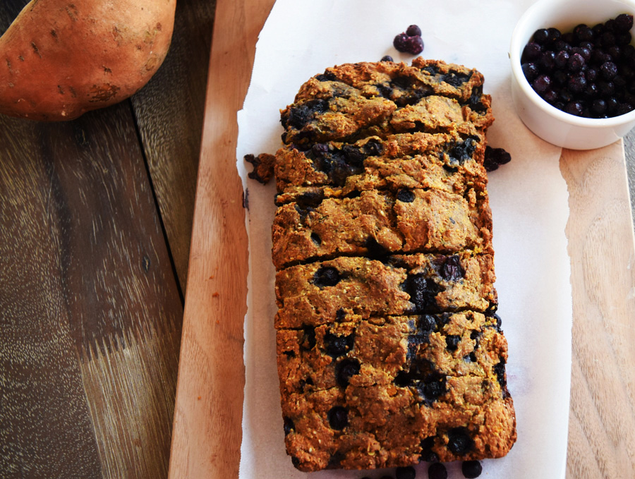 Healthy Sweet Potato Bread with Blueberries on wood