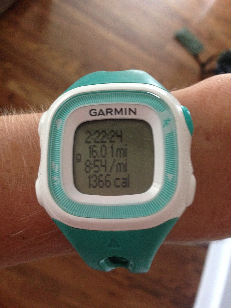 Garmin watch after 16 mile run
