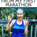 Holding up peace signs in running outfit with text overly