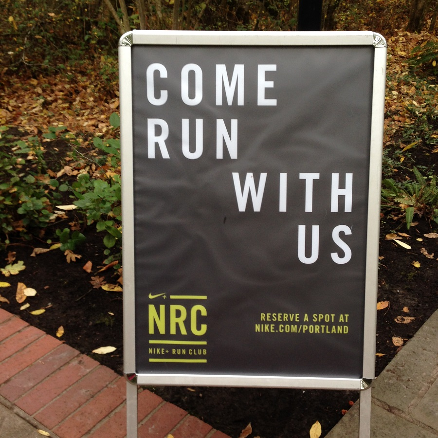 "Nike Run Club Sign, ""Come Run With Us"""