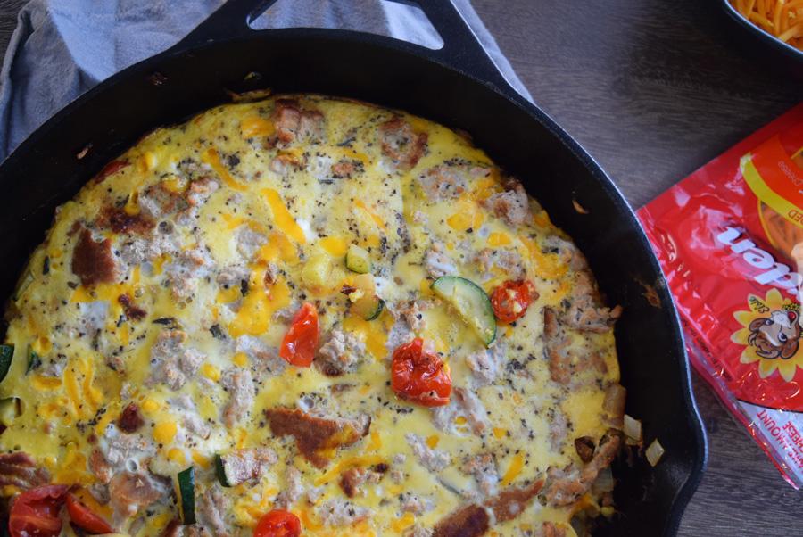 Cheesy Veggie Turkey Fritatta, Easy Fritatta