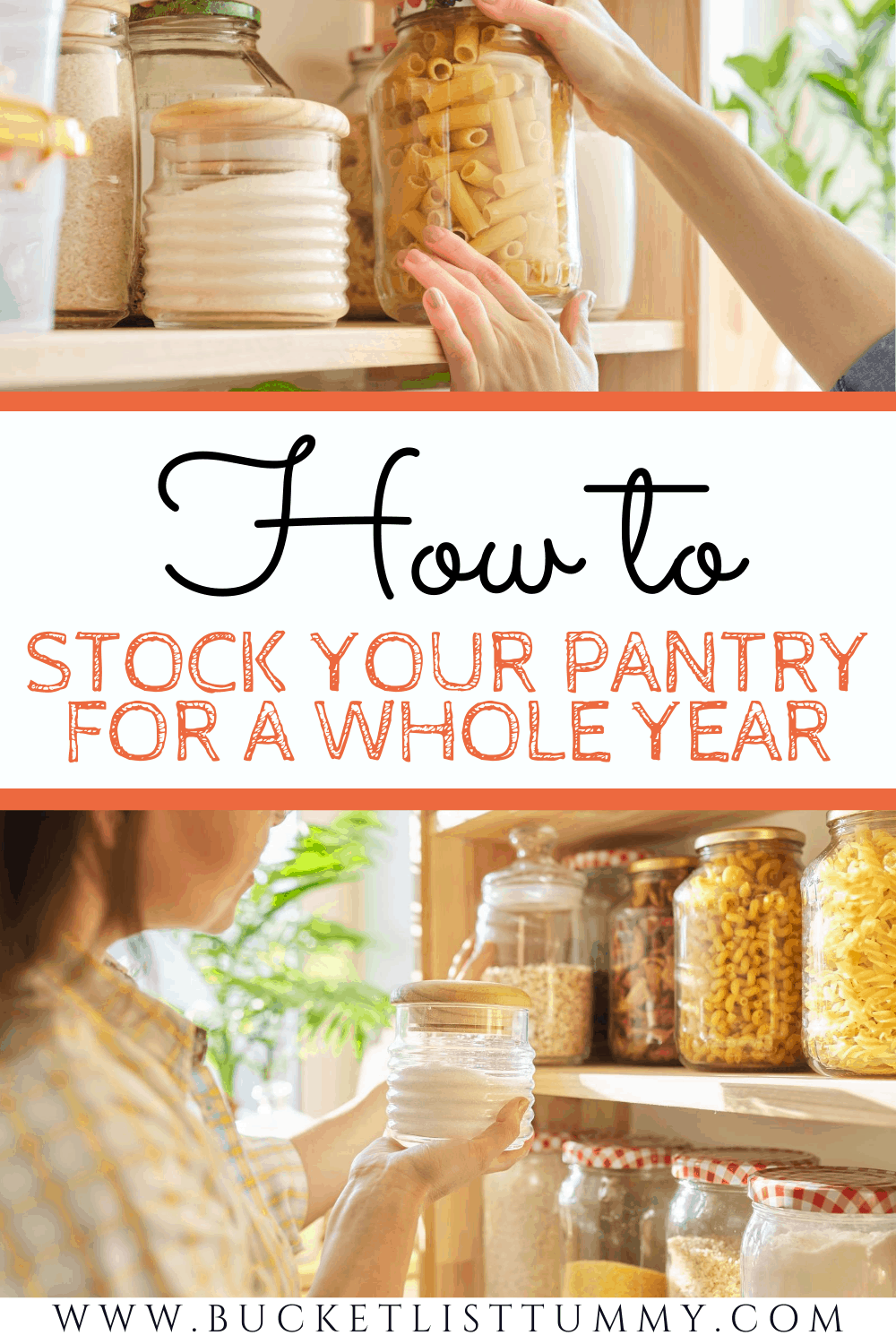 grains and pantry shelves with text overlay