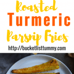 Baked Turmeric Parsnip Fries are crispy and sprinkled with cheese. An easy parsnip fries recipe that is delicious and a quick side to any meal | Oven roasted parsnip fries