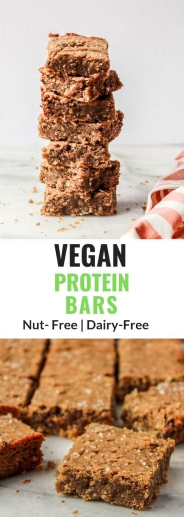 Vegan Protein Bars closeup with chocolate chips sprinkled around