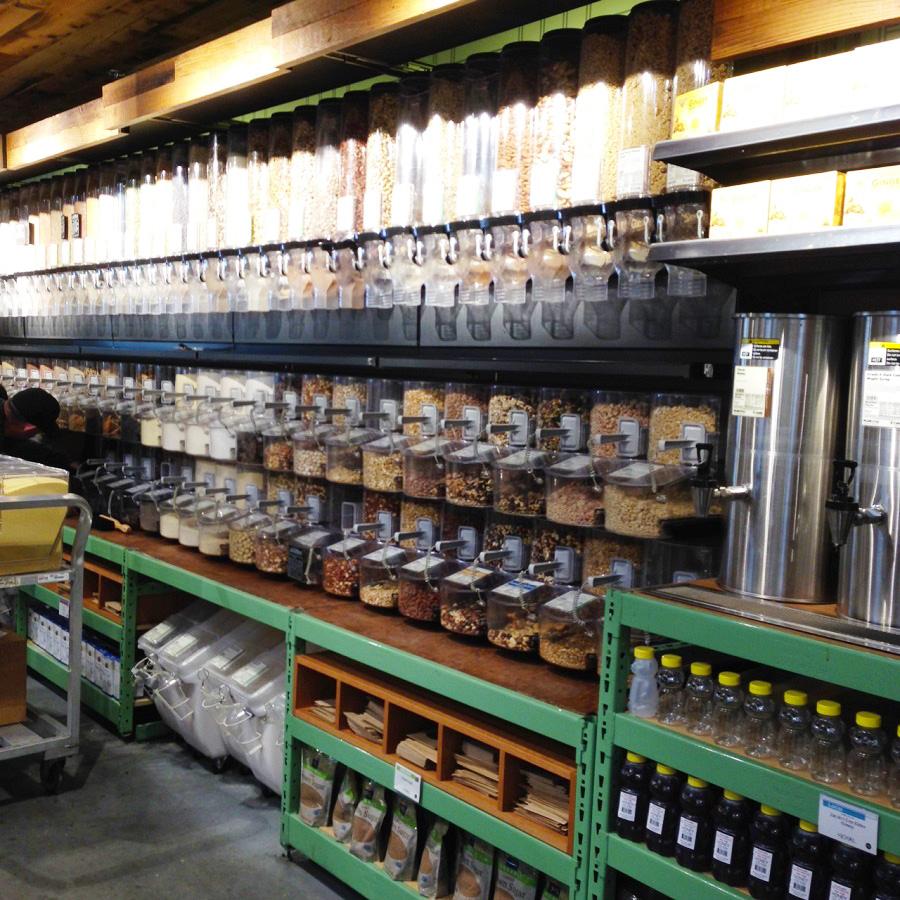 bulk bins aisle at Whole Foods