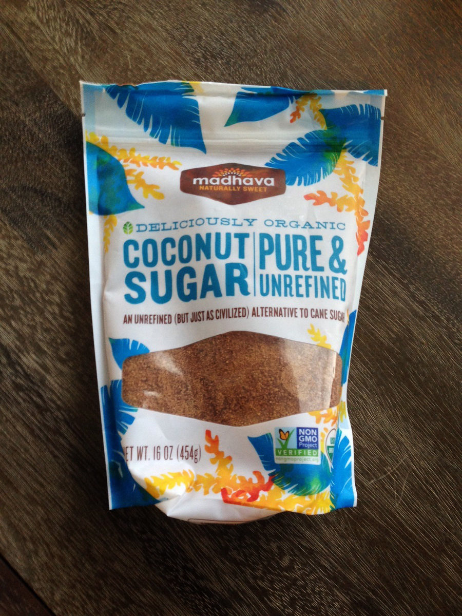 bag of madhava coconut sugar on wooden table
