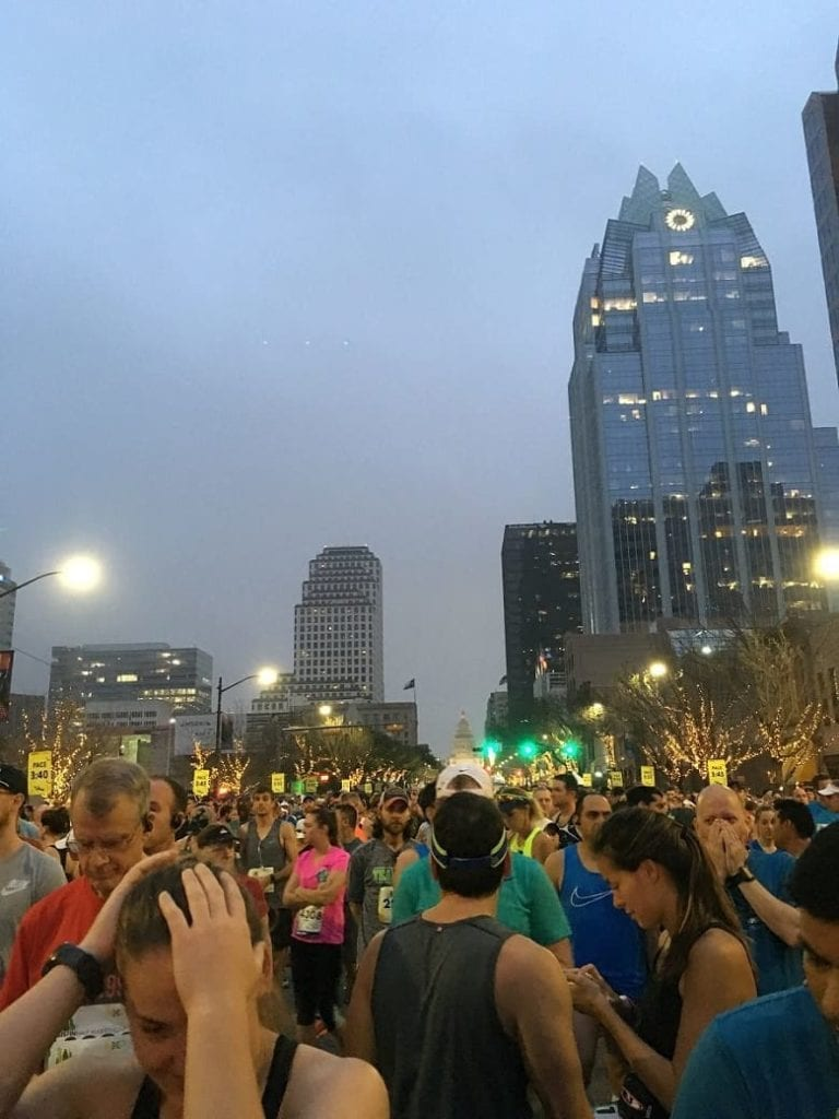 starting line of Austin Half Marathon