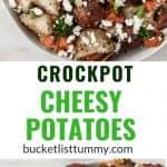 Long image of crockpot cheesy potatoes
